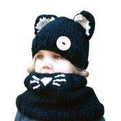 Koly Kids Winter Warm Baby Girls Boys Knitted Cat Hooded Cowl Beanie Caps