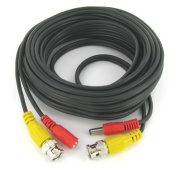 7.6m Black CCTV Camera Siamese Coax Cable with Power Wire