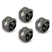 XSPC G1/10cm - 1cm ID, 1.6cm OD Compression Fitting V2, Black Chrome, 4-pack