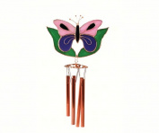 Gift Essentials GE146 Pink And Purple Butterfly With Leaves Wind Chime