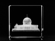 Asfour Crystal 1166-60-46 2.4 L x 2.4 H x 2.4 W in. Crystal Laser-Engraved Dome of the Rock Monuments Laser-Cut