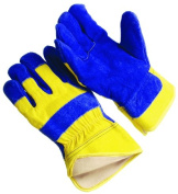 Seattle Glove 9-1240BY-L Blue Leather Palm & Yellow Canvas Back Glove Pack of 12