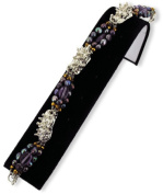 DDI 1756561 Purple and Crystal Spiked Bead Bracelet Case Of 12
