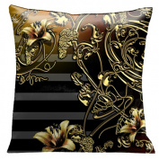 Lama Kasso 118S Old Gold Iron Lace Work and Flowers on a Wonderful Black and Soft Grey Striped Background 46cm . x 18 in. Micro-suede Pillow
