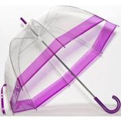Elite Rain Frankford RB01-PRP Clear Bubble Umbrella Purple Trim