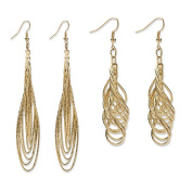 PalmBeach Jewellery 53902 2 Pairs of Multi-Chain Drop Earrings Set in Yellow Gold Tone