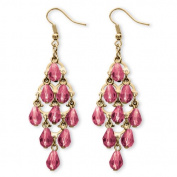 PalmBeach Jewellery 5389010 Birthstone Teardrop Chandelier Earrings in Yellow Gold Tone October - Simulated Tourmaline