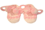 Pink / White Hand Knitted DK Baby Booties Ballet Style Shoes With PomPom Ties - Newborn 0-3 months