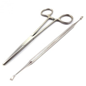 Medentra Ear Hair Removal Forceps With Tartar Tooth Scraper Remover Pets