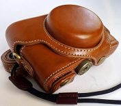 Protective PU Leather Camera Case Bag with Tripod Design Compatible For Sony Cyber-shot DSC- RX100M4 with Shoulder Neck Strap Belt Brown