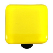 Hot Knobs HK1010-KB Canary Yellow Square Glass Cabinet Knob - Black Post