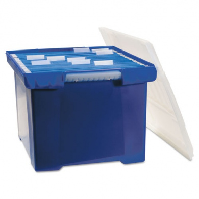 Storex Industries Corporation 61554U01C Plastic File Tote Storage Box Letter/Legal Snap-On Lid Blue/Clear