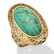 PalmBeach Jewellery 495749 Oval-Shape Turquoise 18k Gold-Plated Filigree Ring Size 9