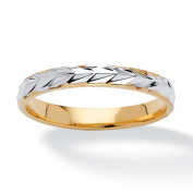 PalmBeach Jewellery 8373_10 Textured Wedding Ring in Two-Tone 14k Gold-Plated Size 10