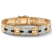 PalmBeach Jewellery 43752 Mens 2.52 TCW Cubic Zirconia and Genuine Onyx Bracelet in 14k Gold-Plated