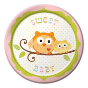 Creative Converting 417128 18cm . Happi Tree Sweet Baby Girl Lunch Plates - Case of 96