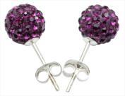 Best Desu 17385. Elements Crystal Pave Balla Earrings Purple
