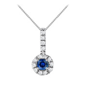 Fine Jewellery Vault UBUNPD31791W14CZS400 Fancy Round Sapphire and Cubic Zirconia Halo Pendant in 14K White Gold