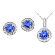 Fine Jewellery Vault UBUNERPD32336AGCZTZ600 December Birthstone Tanzanite with CZ Halo Earrings and Pendant in 925 Sterling Silver