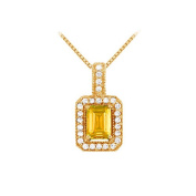 Fine Jewellery Vault UBNPD32338Y14EC75CZCT Fancy Square Citrine and Cubic Zirconia Halo Pendant in Yellow Gold 1.25 CT TGW