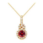 Fine Jewellery Vault UBUNPD31620Y14CZR600 July Birthstone Ruby with CZ Halo Pendant in 14K Yellow Gold