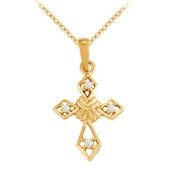 Fine Jewellery Vault UBNPD32341AGVYCZ April Birthstone Cubic Zirconia Cross Pendant in 18K Yellow Gold Vermeil