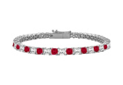 Fine Jewellery Vault UBBR18WSQPR500DR Ruby and Diamond Tennis Bracelet with 5 CT TGW on 18K White Gold