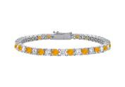 Fine Jewellery Vault UBBR10WRD131200CZCT Citrine and Cubic Zirconia Prong Set 10K White Gold Tennis Bracelet 2 CT TGW