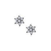 Fine Jewellery Vault UBNER40010W14CZ April Birthstone Cubic Zirconia 7 Stone Cluster Earrings in 14K White Gold