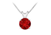 Fine Jewellery Vault UBPD14WH4RD075R 14K White Gold Prong Set Natural Ruby Solitaire Pendant 0.75 CT TGW