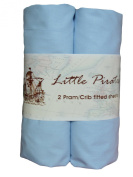 2 x Baby Pram/Crib/ Moses Basket Fitted Sheet 100% Luxury Brushed Percale Cotton Blue 40x90cm