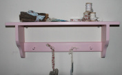 Shakers shelf with 4 Shakers pegs pink shabby chic finish