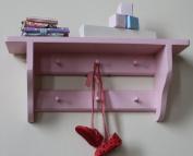 Shakers style nursery shelf, double rail of pegs, 6 pegs, Rose Blush shabby chic finish
