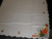 Tapestry Trading LY0041-60120 150cm x 300cm . Embroidered Pumpkin Gourd Cutwork Table Cloth Ivory