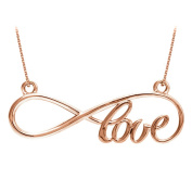 Fine Jewellery Vault UBPDS86075AGVR Ideal Gifting Love Infinity Design Necklace in 14K Rose Gold Vermeil Pretty Design