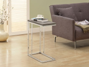 Monarch Specialties I 3253 Dark Taupe Reclaimed-Look - Chrome Metal Accent Table