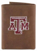 ZeppelinProducts TAM-IWE2-CRZH-LBR Texas A & M Trifold Embroidered Leather Wallet
