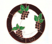 Gift Essentials GE117 Small Grape Bunch Trifecta Circle Window Panel
