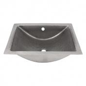 The Copper Factory Solid Hand Hammered Copper Concave Undermount Lavatory Sink in Satin Nickel Finish - CF169SN