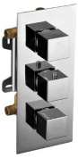 ALFI Trade AB2801-PC Polished Chrome Concealed 3-Way Thermostatic Valve Shower Mixer Square Knobs