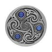 Handmade Celtic Triskele 3 Blue Moonstones Pewter Brooch