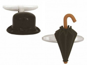 Black/Silver Hat and Umberella Cufflinks by Zennor