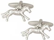 Silver Horse Riding Cufflinks by Zennor