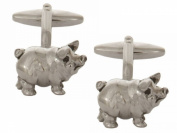 Silver Pig Rhodium Plate Cufflinks by Zennor