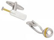 Silver/Gold Cricket Ball and Bat Cufflinks by Zennor