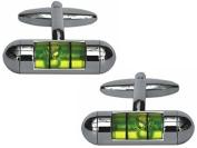 Silver/Green Spirit Level Cufflinks by Zennor