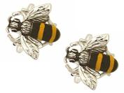 Silver/Yellow/Black Bee Cufflinks by Zennor