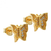 Earrings with Butterfly Design in Gold-Plated 3 Micron