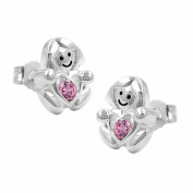 Male, girls, with A pink Heart Design in 925 Silver