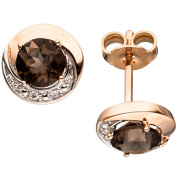 JOBO Gold Stud Earrings 585 Rose Gold 4 Diamonds and Brilliants 2 Rauchquarze Brown Earrings